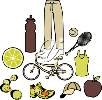 Royalty Free Clipart Image of a Woman's Workout Clothes