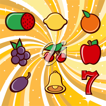 Royalty Free Clipart Image of Slot Machine Fruit Icons