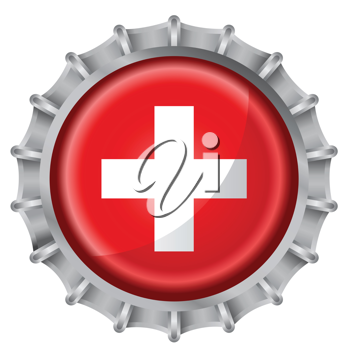 Royalty Free Clipart Image of a Switzerland Flag Bottle Cap