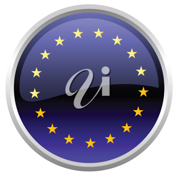 Royalty Free Clipart Image of a European Flag Button
