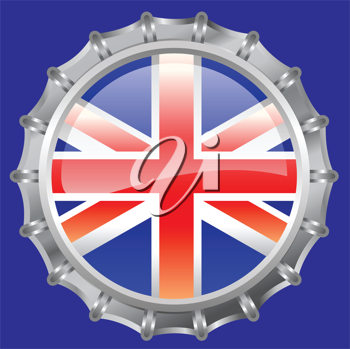 Royalty Free Clipart Image of a Union Jack Bottlecap