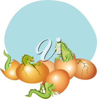 Royalty Free Clipart Image of Baby Dragons Hatching