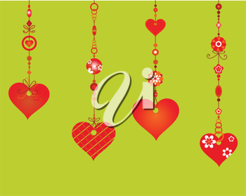 Royalty Free Clipart Image of Heart Wind Chimes