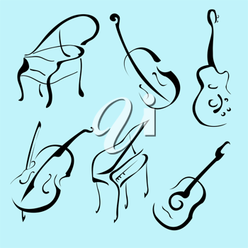 Royalty Free Clipart Image of Music Instruments