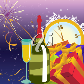 Royalty Free Clipart Image of a New Years Background