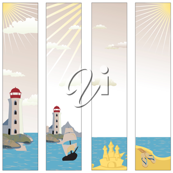 Royalty Free Clipart Image of a Set of Banners With a Lighthouse