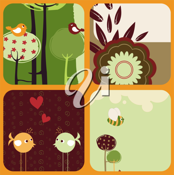 Royalty Free Clipart Image of Cute Nature Themed Greeting Cards