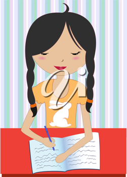 Royalty Free Clipart Image of a Girl Writing