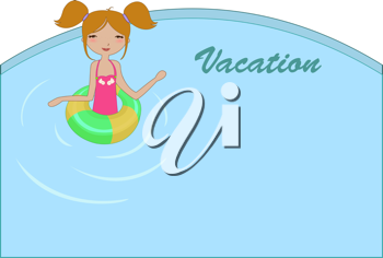 Royalty Free Clipart Image of a Girl in a Swimming Pool