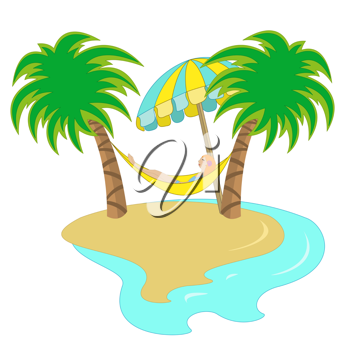 Royalty Free Clipart Image of a Girl in a Hammock