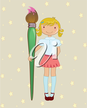 Royalty Free Clipart Image of a Girl With a Paintbrush