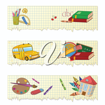 Royalty Free Clipart Image of a Set of School Banners