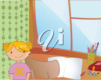 Royalty Free Clipart Image of a Girl Standing by a Desk