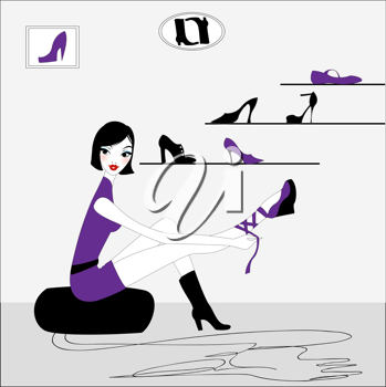 Royalty Free Clipart Image of a Woman Trying on Shoes