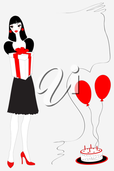 Royalty Free Clipart Image of a Woman Holding a Present