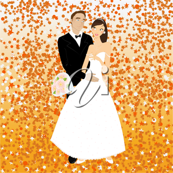 Royalty Free Clipart Image of a Couple Getting Married