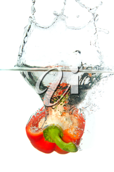 Royalty Free Photo of a Red Pepper in Water