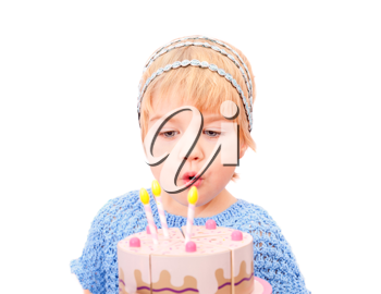 Royalty Free Photo of a Little Girl With a Cake