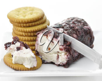 Royalty Free Photo of Cranberries And Cinnamon Goat Cheese And Crackers
