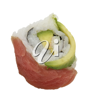 Sushi Roll With Red Fish And Avocado, Isolated On White Background