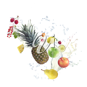 Fresh fruits and berries  with water splash