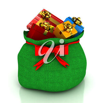 Royalty Free Clipart Image of a Bag of Christmas Presents