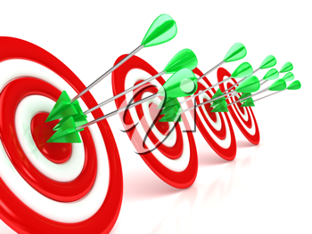 Royalty Free Clipart Image of Arrows on Targets