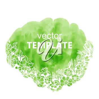 Fresh spring template with text and flowers. Vector