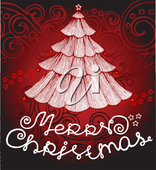 Royalty Free Clipart Image of a Merry Christmas Background With a Tree