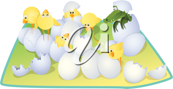 Royalty Free Clipart Image of Chicks and a Crocodile Hatching