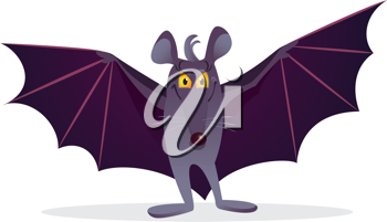 Royalty Free Clipart Image of a Bat Spreading Its Wings