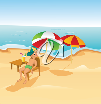 Royalty Free Clipart Image of a Guy on a Beach