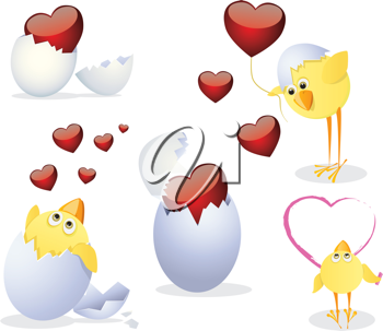 Royalty Free Clipart Image of Chicks and Hearts