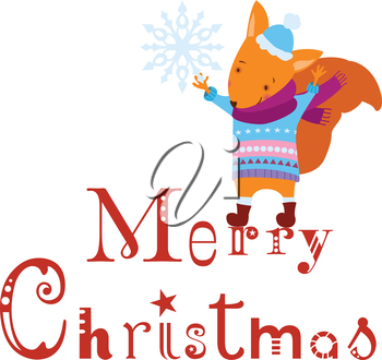 Merry Christmas squirrel with snowflake background