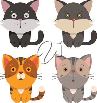 Set of cartoon cats - funny vector illustration for cartoon print. T-shirt graphics for kids.