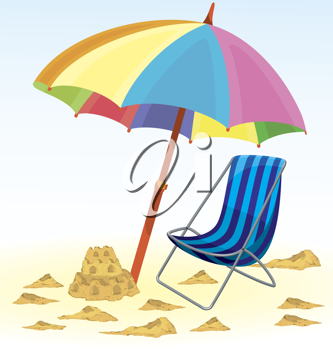 Royalty Free Clipart Image of a Beach Umbrella and Chair
