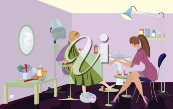 Royalty Free Clipart Image of People at a Beauty Salon