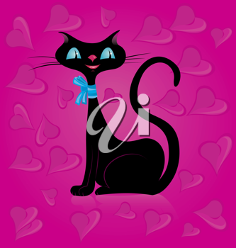 Royalty Free Clipart Image of a Black Cat