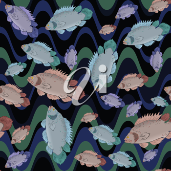 Royalty Free Clipart Image of Fish Underwater