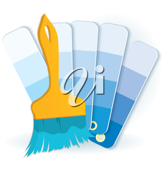 Royalty Free Clipart Image of a Paintbrush and Paint Swatches