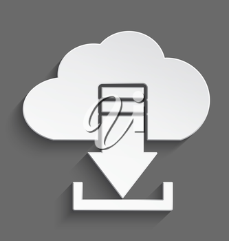 Vector illustration of white 3d cloud and arrow download realistic shadow.
