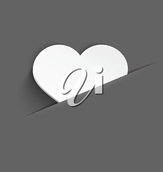 Vector illustration of 3d white plastic heart with realistic shadow in paper cut pocket..