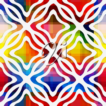 Abstract 3d geometrical seamless background. White wavy rectangle net and rectangle rim on rainbow layer with cut out of paper effect.
