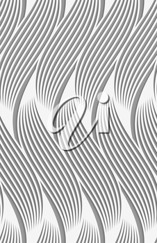 Stylish 3d pattern. Background with paper like perforated effect. Geometric design.Perforated paper with wavy striped shapes.