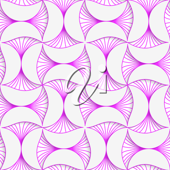 Seamless geometric background. Pattern with realistic shadow and cut out of paper effect.3D purple striped pin will .