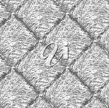 Pencil hatched dark gray squares .Hand drawn with brush seamless background.Modern hipster style design.