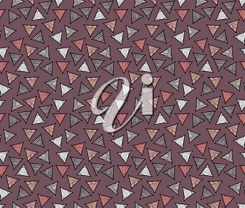 Rough hatched triangles colored on brown.Hand drawn with ink seamless background.Rough texture created with hatched geometrical shapes.