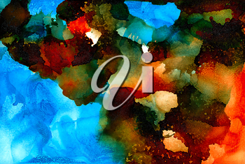 Abstract painted orange blue with black.Colorful background hand drawn with bright inks and watercolor paints. Color splashes and splatters create uneven artistic modern design.