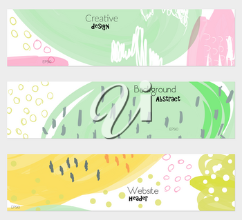 Doodled circles scribbles strokes green white banner set.Hand drawn textures creative abstract design. Website header social media advertisement sale brochure templates. Isolated on layer