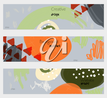 Doodled triangles scribbles gray orange banner set.Hand drawn textures creative abstract design. Website header social media advertisement sale brochure templates. Isolated on layer